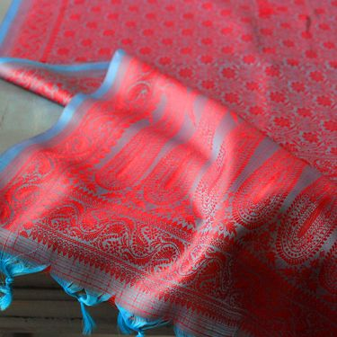 Indian handicraft table runner blue and red