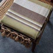 Indian cotton sofa or bed cover brown and green