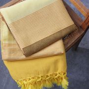 Indian sofa or bed cover cotton yellow