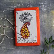 Carnet indien artisanal en soie Mangue orange