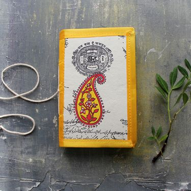 Indian handicraft silk piping diary Mango yellow