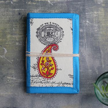 Indian handicraft silk piping diary Mango blue