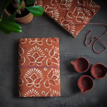 Indian handicraft printed cotton diary ocher