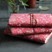 Indian handicraft printed cotton diary pink