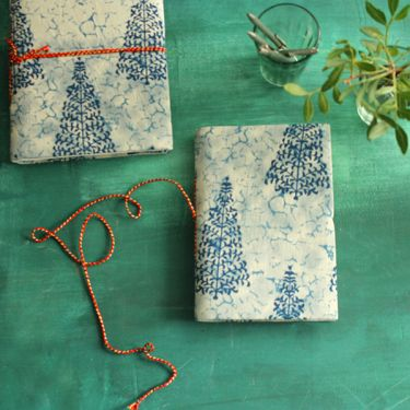 Indian handicraft printed cotton diary blue