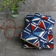 Indian handicraft printed cotton diary blue and red