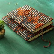 Indian handicraft printed cotton diary blue and orange