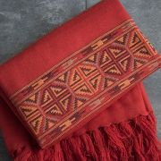 Tibetan woolen shawl traditional ocher