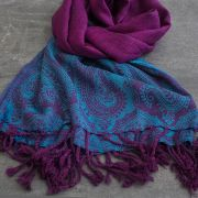 Indian scarf colorful and shiny purple and blue