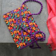 Indian handicraft small handbag Kuch cotton purple