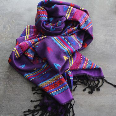 Tibetan art silk scarf purple