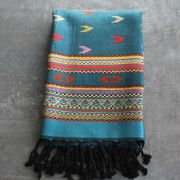 Tibetan art silk scarf blue