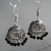 Indian handicraft metal earrings Jhumka black