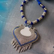 Indian ethnic metal and cotton necklace blue