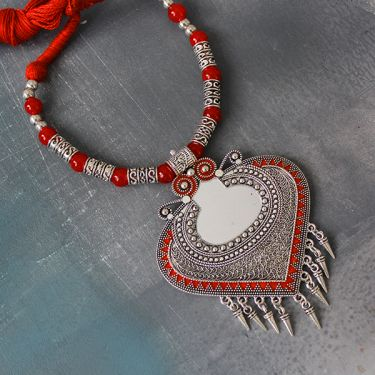 Indian ethnic metal and cotton necklace red