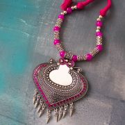 Indian ethnic metal and cotton necklace pink