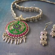 Indian jewelry set ethnic design pink and green
