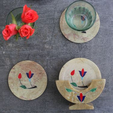 Indian marble coasters flowers x6