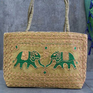 Indian handicraft handbag Elephants gold