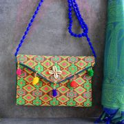 Indian handicraft small handbag Kuch orange and green