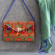 Indian handicraft small handbag Kuch orange and red