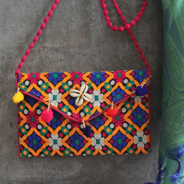 Indian handicraft small handbag Kuch pink and orange