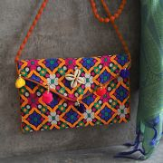 Indian handicraft small handbag Kuch orange and blue