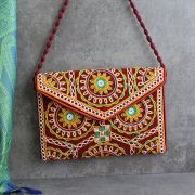 Indian handicraft small handbag Kuch velvet brown