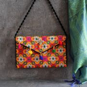 Indian handicraft small handbag Kuch orange and pink