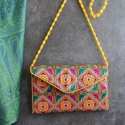 Indian handicraft small handbag Kuch orange and yellow