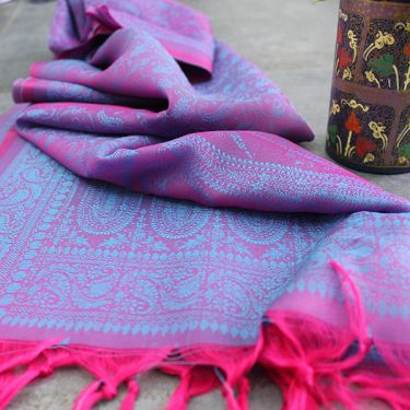 Indian handicraft table runner purple and pink