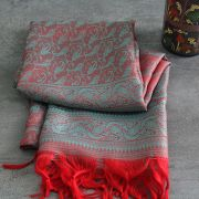 Indian handicraft table runner red and blue
