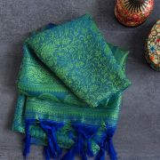 Indian handicraft table runner blue and green