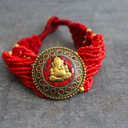 Indian ethnic metal bracelet Ganesh red