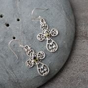 Indian silver and citrine cutstones earrings
