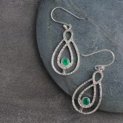 Indian silver and green onyx cutstones earrings