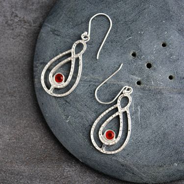 Indian silver and carnelian stone earrings