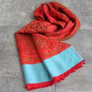 Indian scarf flower design orange and cyan