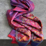 Indian scarf peacock design purple and red