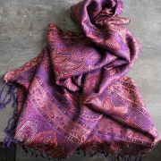 Indian Jamawar cotton scarf purple color