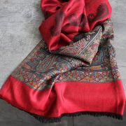 Indian scarf mangoes design red and black