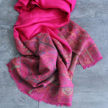 Indian Jamawar cotton scarf pink color