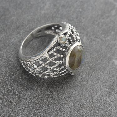 Indian silver and labradorite stones ring S8