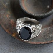 Indian silver and black onyx stone ring Size choice