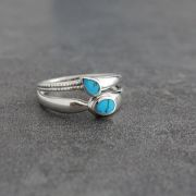 Indian silver and turquoise stones ring Size choice