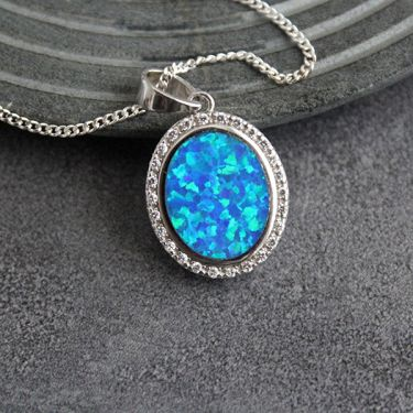 Indian silver pendant opale and zircon stones