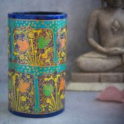 Indian handicraft pen stand papier mache cyan