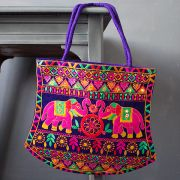 Indian handbag Funda elephants purple
