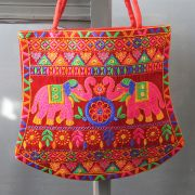 Indian handbag Funda elephants red color