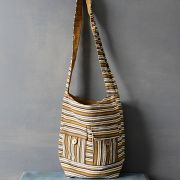 Indian handicraft cotton handbag brown color